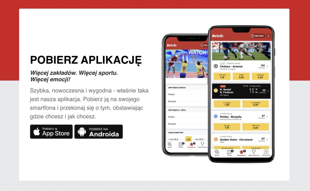 Betclic Polska aplikacja na telefon